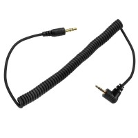 PC Sync flash Cable Male to Male 3.5mm to 2.5mm jack Coiled 1.5m