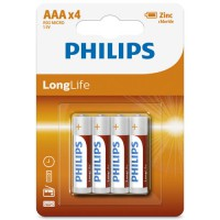 AAA Philips Zinc Chloride Batteries R03 1.5V Super Heavy Duty - 4 pack
