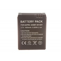 Aftermarket battery compatible with GoPro HERO3 - 1600mAh Li-Ion