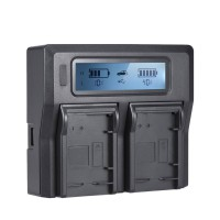 Dual Channel Digital Camera Battery Professional Charger w/ LCD Display NP-T125