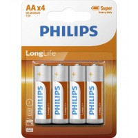 AA Philips Zinc Chloride Batteries R6 1.5V Super Heavy Duty - 4 pack