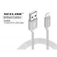 Voxlink 8 Pin USB 2M Metal Braided Cord Data Sync Cable for iPhone  Silver