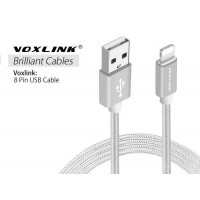 Voxlink 8 Pin USB 3M Metal Braided Cord Data Sync Cable for iPhone  Silver