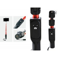 Super compact selfie stick with phone holder and bluetooth remote